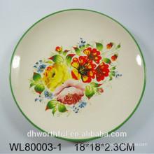 Plaque ronde en céramique décorative en fleurs et oiseaux