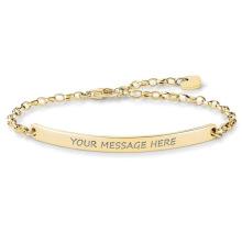 Bracelet plaqué par or de barre en gros de nom, bracelet gravé fait sur commande de barre d'acier inoxydable