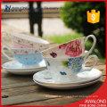 Café belos copos de chá / moderno chá de xícaras florais / alta qualidade xícaras de café elegante da China