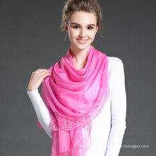 Mei Red Polyester Chiffon Scarf Lace Shawls for Women