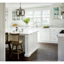 armário de cozinha modular pintado com portas de vidro