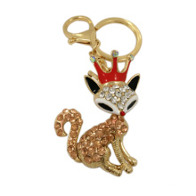 Fashion Promotional Gifts Crystal Fox Metal Keychain with Hook