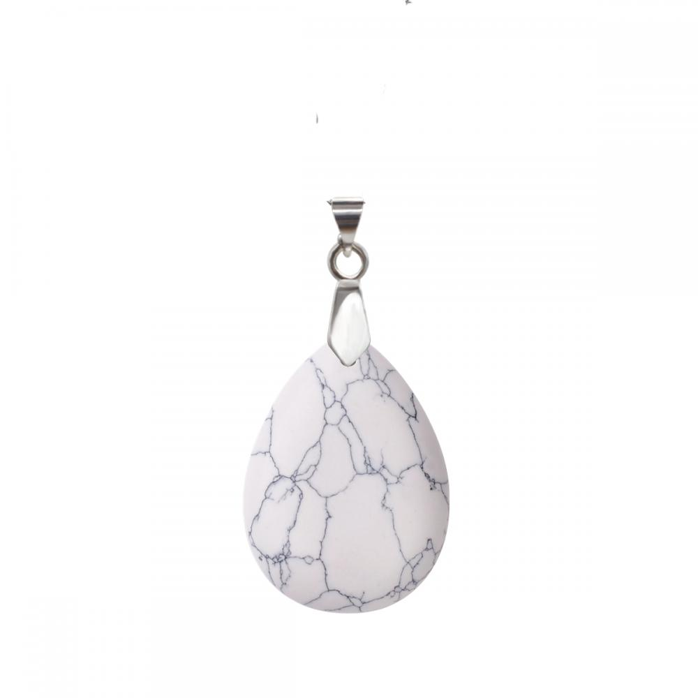 Natural Howlite 28x35MM Waterdrop Pendant Necklace with 45CM Silver Chain