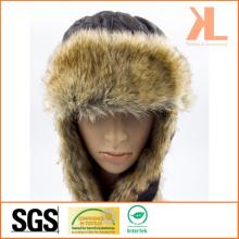 100% polyester en taffetas et fourrure artificielle Ushanka chapeau d'hiver avec rabat d'oreille