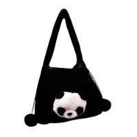 plush black bag with panda head