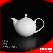 Keramik Teekanne versilbert Antik weiß Gastronomie / Porzellan Kaffee-Topf