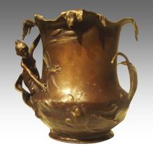 Vase Statue Lady Cuivre Ware Décoration Bronze Sculpture TPE-941
