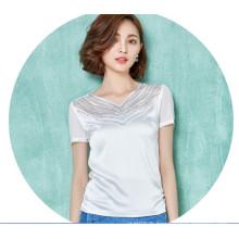 Mode en mousseline de soie femmes T-shirt creux belle