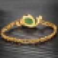 Ladies Vintage Plated 18k Gold Bracelet Agate Stone Peacock Bracelet