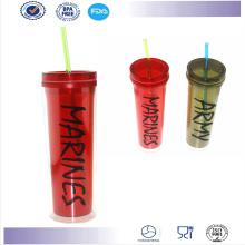 Vente en gros haute qualité Double paroi Starbucks Mug tasse paille en plastique