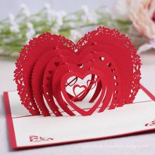 FQ marca atacado casamento convite personalizado 3d vermelho coração amor cartão