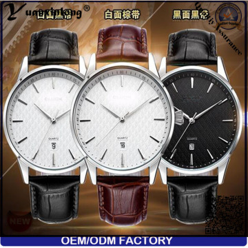 Yxl-445 New Arrival Men Watch Business Fashion Genuine Leather Calendar Date Japan Movt Quartz Wrist Watch