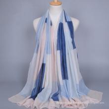 Primavera venda quente cachecol muçulmano geométrica tarja impressa lenço de algodão voile mulheres hijab