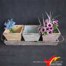 Pot de fleurs en bois antique coloré avec plateau pour jardin