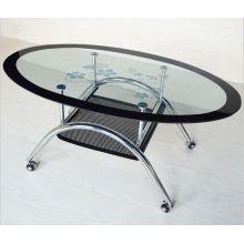 Оптовые продажи современные овальный закаленное стеклянный журнальный столик