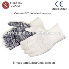 PVC dots coated cotton gloves,7 gauge natural white cotton knitted glove