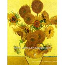 Pintura a óleo famosa do girassol de Van Gogh na lona
