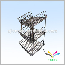 Powder coated Floor Metal Wire Display Rack for store Pushing Sale