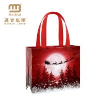 Eco Friendly Decorative Custom Made Colorful Printing Shopping Tote Packing Fabric Reusable Non-Woven Merry Christmas Gift Bag