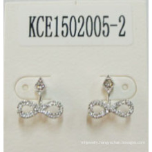 Bow Tie Metal Silver-Plated with Gem Earrings