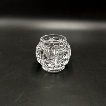 Portavelas pequeño de cristal con forma de bola