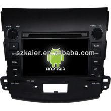 Système Android lecteur dvd de voiture pour Mitsubishi Outlander avec GPS, Bluetooth, 3G, ipod, jeux, double zone, contrôle du volant