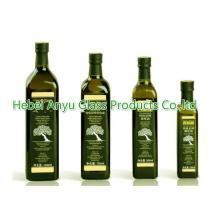 250 ml 500 ml 750 ml Bouteille d'huile d'olive verte ronde / carrée Huile de cuisine Bouteille en verre
