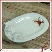 Doméstico porcelana porcelana porcelana sabonete prato titular de sabão