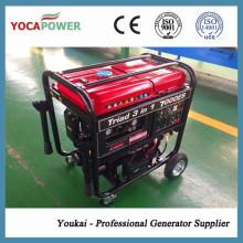 Generador de gasolina de motor de 4 tiempos 4kw con soldador y compresor de aire