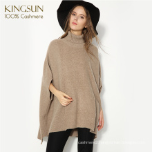 European New Style Wholesale Cashmere Poncho Women Loose Batwing Sleeve Turtle Neck Sweater