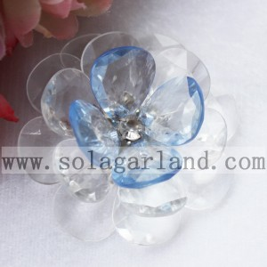 54MM Handmade Plastic Two Tone Jewelry Making Beaded Flower