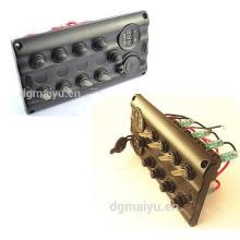 Panel de interruptores de palanca LED / marino de 4 cuadrillas LED con disyuntor USB / voltímetro