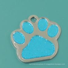Hot Sale métal émail Glitter Paw Pet Tag
