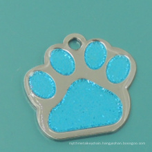 Hot Sale Metal Enamel Glitter Paw Pet Tag
