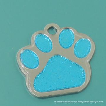 Venda quente de metal esmaltado glitter Paw etiqueta para animais de estimação