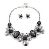 Christmas Gift Vintage Metal Flower Black Diamond Gemstone Chunky Jewelry Set for women