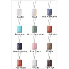 Natural Women Chakra Rectangle Gemstone Pendant Necklace