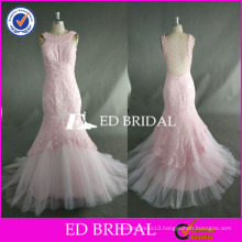 ED Bead Work Sleeveless Lace Appliqued Ankle Length Mermaid Pink Tulle Prom Dress