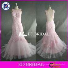 ED Bead Work Sem Manga Lace Appliqued Ankle Length Sereia Pink Tulle Prom Dress