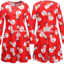 2017 Latest Casual Dress Designs Above Knee Bright Red Printed Dress Women For Christmas Gifts