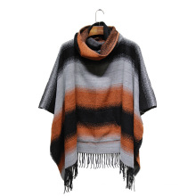 Lady Fashion Striped Acrylic Knitted Winter Fringe Pocket Poncho (YKY4508)
