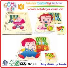 Kind Pädagogische Produkte Baby wachsen hölzernes Puzzle-Spiel auf