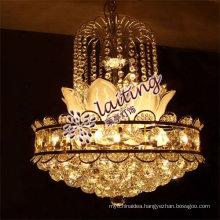 Guzhen E12/E14 elegant small golden led crystal chandelier pendant light for home living room