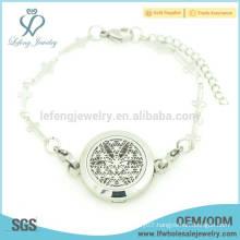 Fashion bracelets design jewelry,flower perfume locket cross bracelet chain