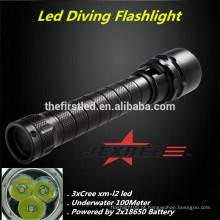2014 Melhor venda Cree xm-l2 mergulho de engrenagem de mergulhador luz cree xml2 mergulho de mergulho levou tochas