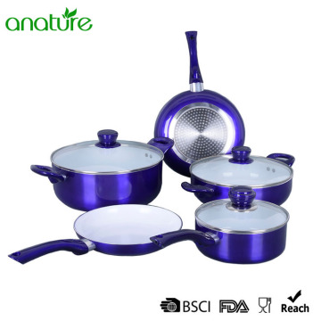 Factory source for Pressed Aluminum Cookware Pressed Purple Ceramic Metallic Exterior Cookware Set export to Finland Exporter