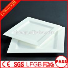 Plaque carrée en porcelaine blanche pour restaurant, plaque carrée en céramique