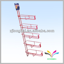 High quality customized red metal grocery store drink bottle wire display shelf