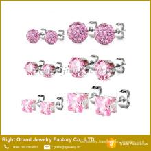 5mm 316L Stainless Steel Pink Shamballa Earrings Cubic Zircon Ear Studs