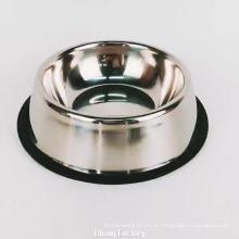 tigelas de aço inoxidável do alimentador do cão de estimação da cor de prata com anel de borracha